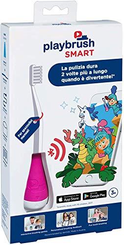 PlaybrushSmart-IntelligenterAufsatzfürKinderzahnbürsteninkl.AppzumspielerischenErlernenderrichtigenZahnpflege, Rosa,1Stück,inkl.Marken-ZahnbürsteundSmartphone-Halterung