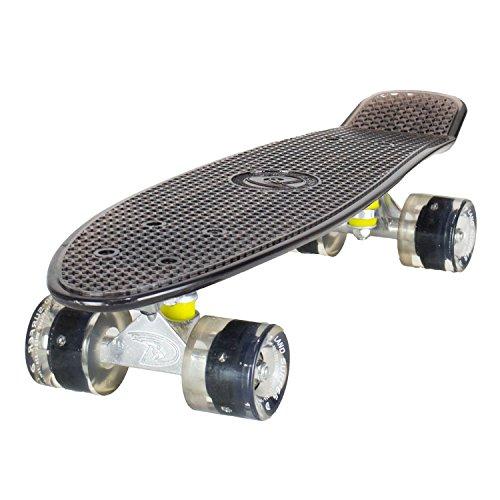 Skateboard LAND SURFER® Rétro Cruiser avec planche transparente de 56 cm - Roulements ABEC-7 - Roues de 59 mm à DEL qui s'illuminent quand elles tournent + sac de transport Planche Noire Transparete Roues Noires