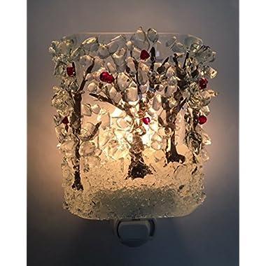 Winter Woods Cardinals in Snow Trees Recycled Glass Night Light by Reborn Glass Nightlight, Nitelite, Nite Lite
