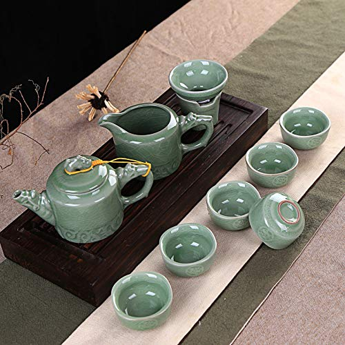 GBCJ Tee-Set Tee-Set Tee-Set Keramik Lila Sandlösung, Drachenkopf Relief