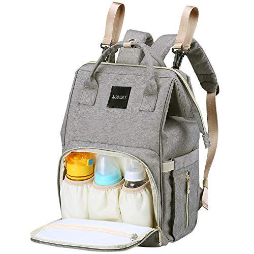 Wickelrucksack, AISPARKY Multifunktional Baby Wickeltasche Rucksack Wasserdicht Reisen Tasche Für Mama und Papa,Große Kapazität,Langlebig und Stilvolle Babytasche für Säuglingspflege,Grau