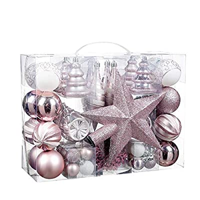 Sunshine 71 Piece Christmas Tree Ornament Set with Glittered Star Treetop, Shatter-Proof Holiday Ornament, Two-Color Combination Christmas Ornament Ball(Pink)