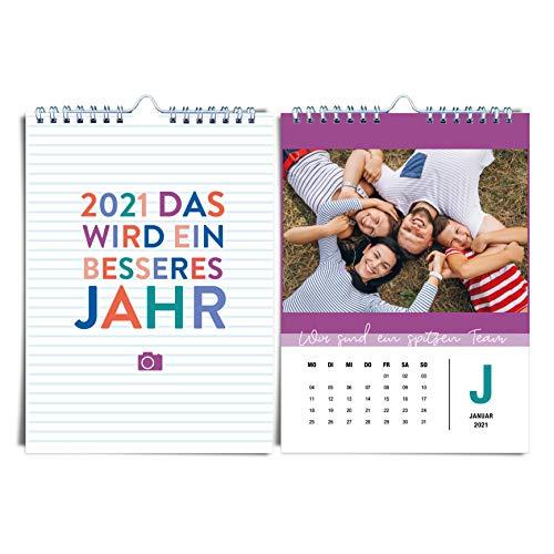 DIN A5 Fotokalender für 2021 von heaven+paper® | Bunter, fröhlicher & farbenfroher Baselkalender für 2021 | Idealer Kreativkalender zum selbstgestalten, basteln & verschenken