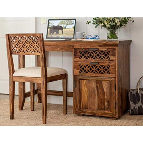RSFURNITURE Sheesham Wood Natural Finish Table with Chair (Standard)