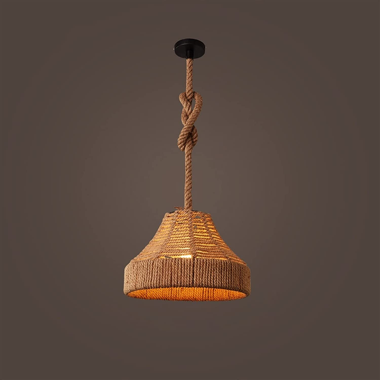 OUUED Loft Pure 25% OFF Hand-Woven Hemp Pendant Surprise price Rope Lamp Restaura Retro