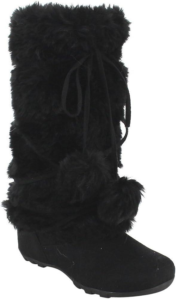 De Blossom Collection Women's Mid Calf Faux Fur Boots