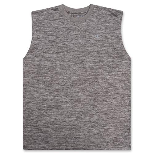 Champion Big and Tall Men's Workout Tank Top - Sleeveless Gym Jersey Muscle Shirt Tank Concrete Heather XLT