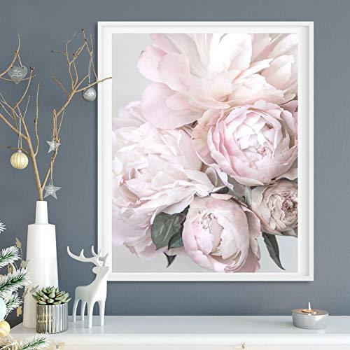 Fincico Nordic Blumen Poster Drucken Pfingstrose Wandbilder Für Wohnzimmer Moderne Bilder Kunst Leinwand Malerei Dekor 50x70cm
