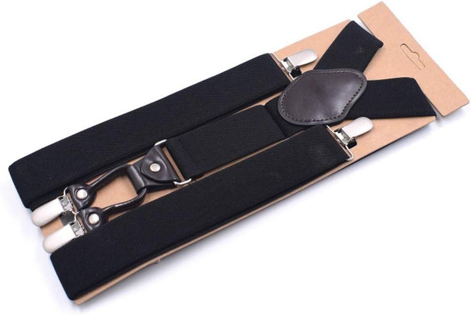 ZYDP Men's Heavy Duty 4 Clip Wide Elastic Adjustable Y Back Suspender Black Plain Color (Color : Black)