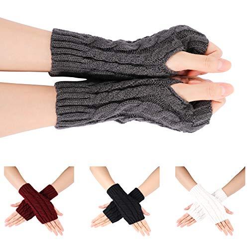 Familybox Damen Fingerlose Handschuhe, 4 Paar Fingerlose Handschuhe Stulpen Thermal Winter Warmer Armstulpen Pulswärmer Strick Kurzer Gestrickte Halb Fingerlose Fäustlinge