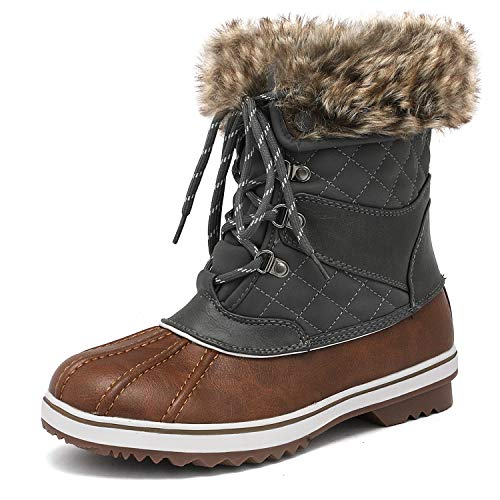 DREAM PAIRS Women's River_2 Tan Khaki Mid Calf Winter Snow Boots Size 10 M US