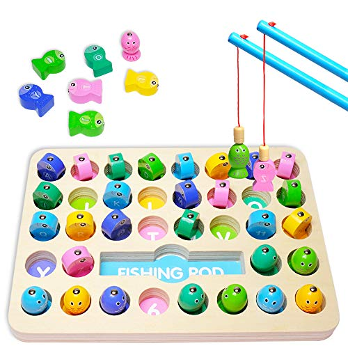 Ree Magnetic Wooden Fishing Game, Alphabet and Numbers Fish Catching Counting Preschool Board Games, Fun Toys for2 3 4 5 Years Old Kids Birthday Learning Education Math Toys with 2 Poles.