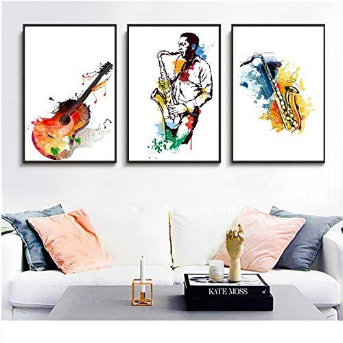 Canvas aquarel muziek saxofoon gitaar poster en afdrukken zanger droomwand foto's voor de woonkamer abstract 50x70cmx3 niet ingelijst