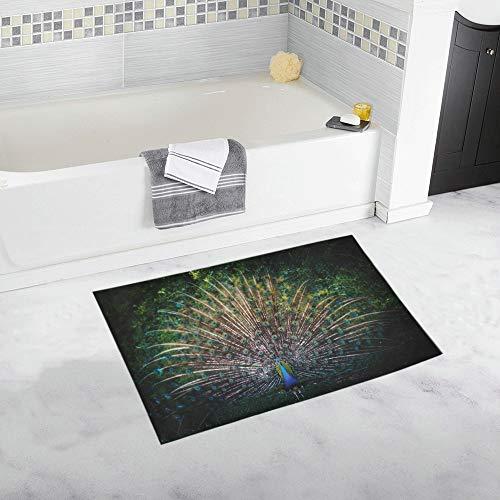 YXUAOQ Pfau Flügel benutzerdefinierte rutschfeste Badematte Teppich Bad Fußmatte Boden Teppich für Badezimmer 20 x 32 Zoll
