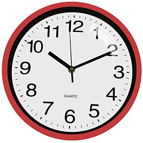 TOPPTIK Reloj de pared, moderno, digital, silencioso, no hace tictac, funciona con pilas, fácil de leer, decoración para salón, cocina, oficina, escuela, aula, rojo, 25,4 cm