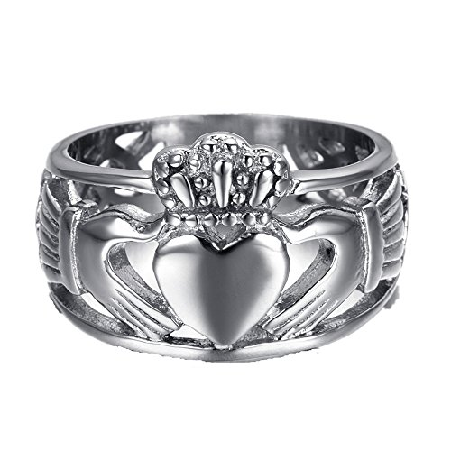 HAMANY Jewelry Men's Stainless Steel Claddagh Ring with Celtic Knot Eternity Design,Size 9