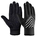 Laufhandschuhe Herren Touchscreen Damen Leichte 3M Grip Winter Handschuhe Sport Outdoor - Schwarz - XL