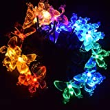 M.best Solar String Lights Outdoor-Waterproof 23Ft 50 LED Solar Butterfly Lights for Porch Market Backyard Patio Party Wedding Gazebo Outdoor Decorative Lights (Multicolor)