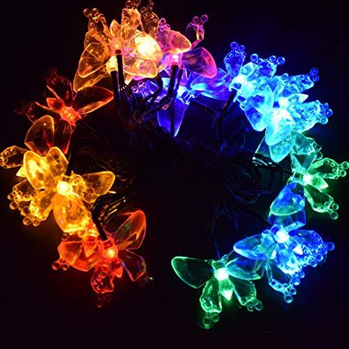 M.best Solar Lichterkette Aussen, 7M 50 LED Solarlichterkette für außen mit Schmetterling 8 Modi Wasserdicht Lichterkette außen Solar für Garten, Balkon, Terrasse, Hochzeiten, Partys (Mehrfarbig)