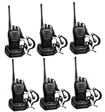 Arcshell Rechargeable Long Range Two-Way Radios with Earpiece 6 Pack UHF 400.025-469.975Mhz Walkie Talkies Li-ion Battery and Charger Included