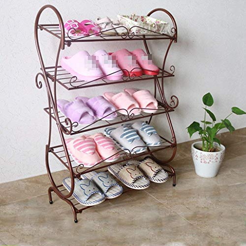 ZZYE Zapatero 5 Niveles Hierro Zapato Rack Mueble Muebles Muebles Organizador Estantes Perchero Zapatero (Color : Metallic)