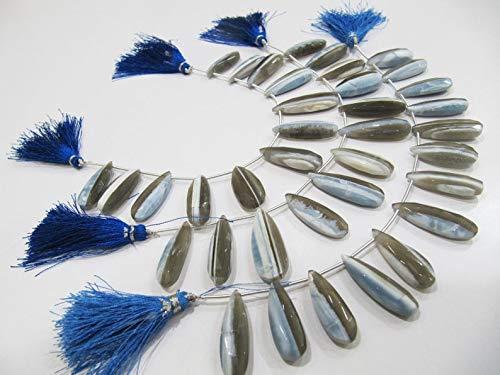 Shree_Narayani Gotas de Briolette de corte facetado de ópalo natural, cuentas planas, tamaño aproximado de 10 x 22 a 11 x 25 mm, cuentas de piedra natal de 8 pulgadas de largo, 1 hebra