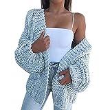 P12cheng Suéter V cuello mujeres V cuello sólido color sólido chaqueta suelta abrigo azul simple XL