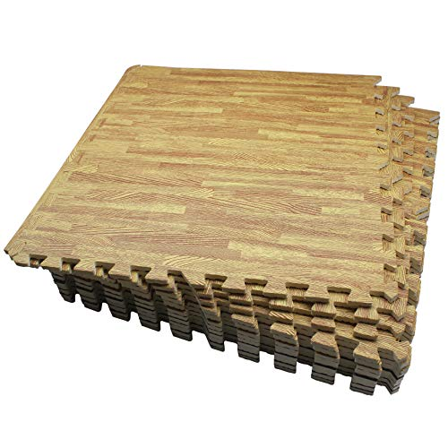 LaFamille Wood Grain Floor Mat 6/12 Tiles Foam Interlocking Puzzle Wood Mat for Kids, Gym, Basement 2'x2' (Light/Dark Wood) (WG60-12Light)