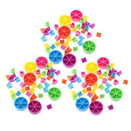 Paquete de 126 Piezas para Trivial Pursuit Game Pieces Pie Wedges para Enseñanza de Matemáticas Fracción