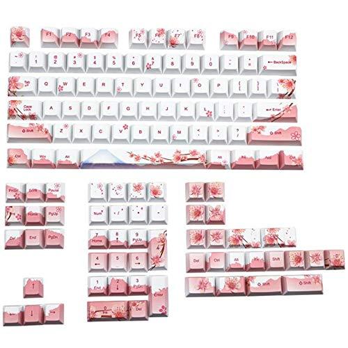 YRW PBT Keycap 128 Teclas Cherry Blossom Keycaps Teclado MecáNico de SublimacióN de Tinte Juego de Teclas para Interruptores de Teclado MX