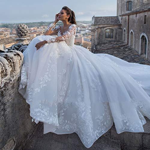Abiti da sposa New Luxury Appliques Corte dei treni A-Line Abiti da sposa Fashion Scoop Neck Lace Up Principessa Abiti da sposa taglie forti abiti da cerimonia ( Color : Ivory , US Size : 22W )
