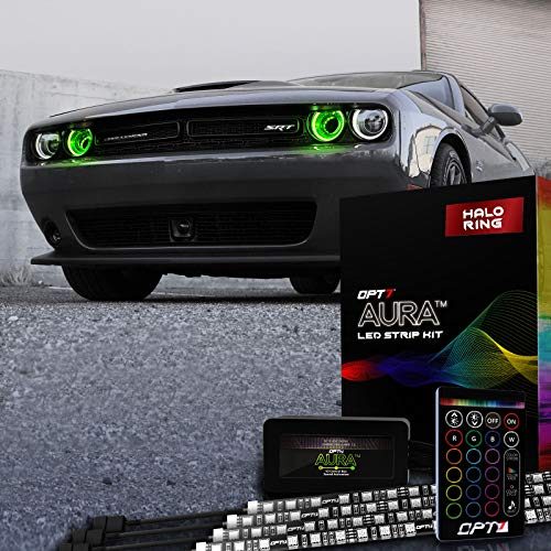 OPT7 Aura DRL Halo Light Kit for 08-20 Dodge Challenger w Wireless Remote, 16+ Smart-Color Spectrum, Demon Eye, Angel Eye, Headlight Accessories, Easy Installation