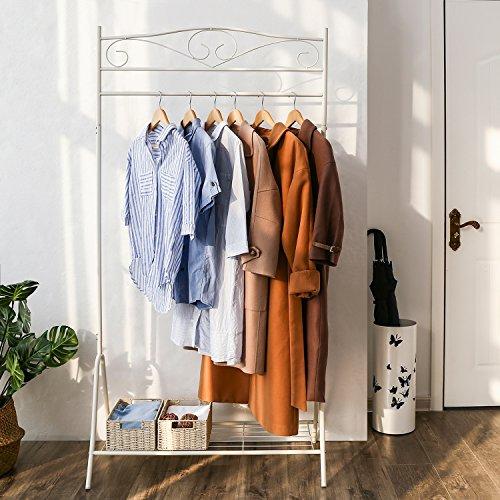 SONGMICS Höhe 173 cm Metall Antik Kleiderständer Kleiderstange Garderobenständer mit Schuhablage,cremeweiß HSR01W