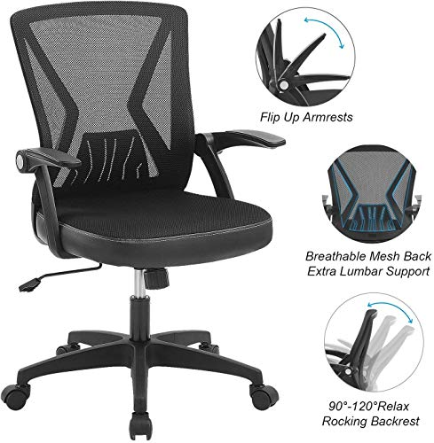 ZLHECTO Ergonomic Office Chair Mid Back Desk Chairs with Flip Up Armrests and Lumbar SupportWeight Hold Up to 250Ibs  Adjustable Height Mesh Computer Chair for Conference Room