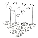 Jofefe 10pcs 8.6' Tall Table Number Holder Place Card Holders Table Number Stands Picture Holder Photo Holder W/ Heart Shape Memo Menu Clips for Table Numbers Wedding Decor, Silver