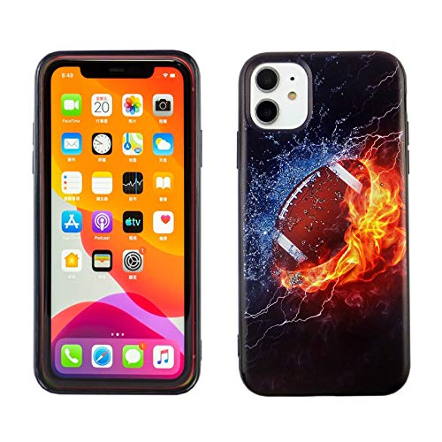 iPhone 11 6.1 Inch TPU Case CASEVEREST 3D Print Design Slim Fit Cover Football on Fire Water IP 11