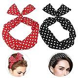 DDTing Fashion Yoga Stirnband – Frauen Chiffon Kopf Wrap Cross Stretch Polka Dot Haarband GoodService 2 Stück rot