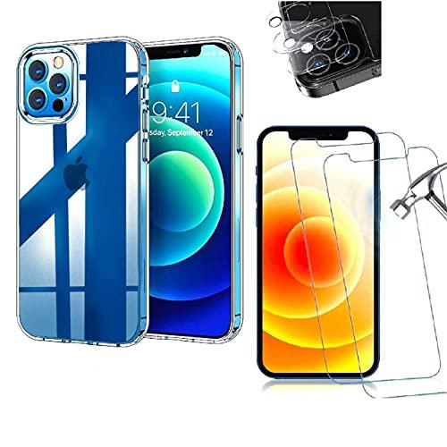 GIOR Funda para iPhone 12 Pro + 2 protectores de pantalla de cristal templado 9H + 2 protectores de cámara transparentes