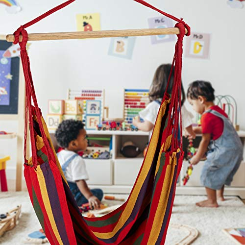 Relaxdays Hängesitz, XL Hängesessel aus Baumwolle, für Kinder & Erwachsene, Aufhängung, In-& Outdoor, 150 kg, grau/weiß - 5