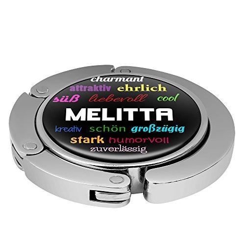 Taschenhalter Positive Eigenschaften Personalisiert mit Namen Melitta printplanet Chrom