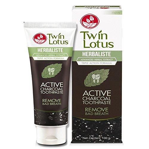 Twin Lotus Aktiv Kohle Zahnpasta gegen Mundgeruch mit natürlicher Wirkstoffen ohne Fluoride 100g