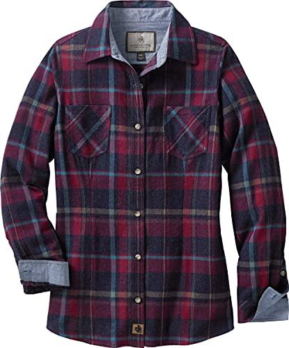 Legendary Whitetails Women's Cottage Escape Flannel Shirt, Sangria Plaid, Medium