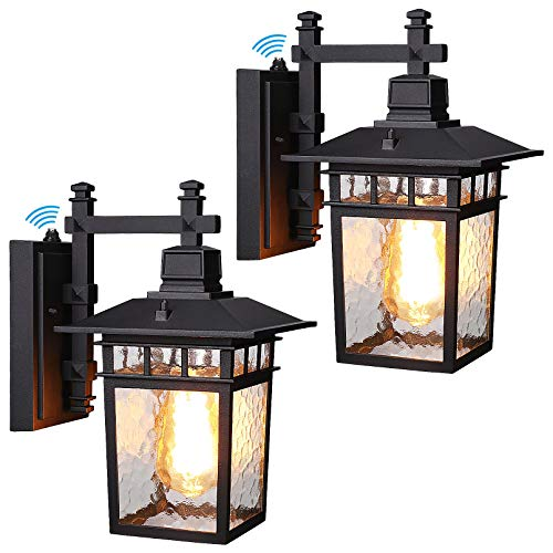 LEONLITE Dusk to Dawn Outdoor Light Fixtures Wall Mount, Anti-Rust Matte Black Outside Lights with Sensor, UL Listed, Water Ripple Glass Lantern Shade, House Garage Exterior Porch Lights, Pack of 2