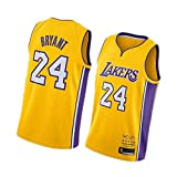Kobe Bryant Herren Basketball Trikots Los Angeles Lakers 24#8# 90er Hip Hop Kleidung für Party Retro Gym Weste Sport Tops Gr. S, gelb