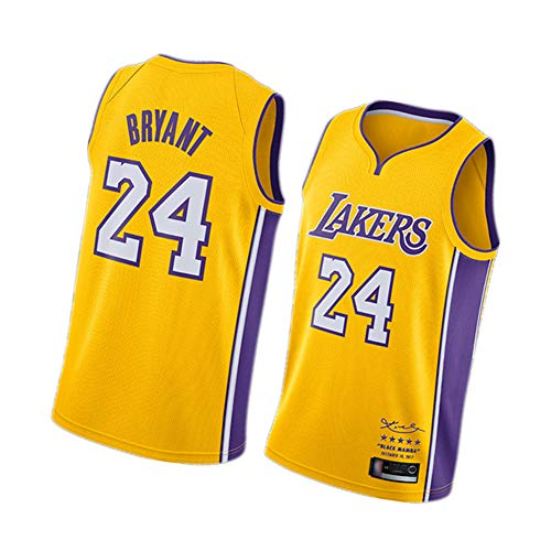 Kobe Bryant Herren Basketball Trikots Los Angeles Lakers 24#8# 90er Hip Hop Kleidung für Party Retro Gym Weste Sport Tops Gr. M, gelb