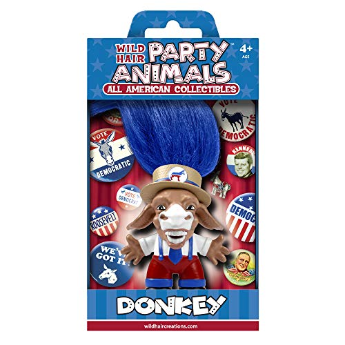 """WILD HAIR CREATIONS' Democrat Donkey, from Party Animals, 5.5"""" Collectible Vinyl Toy/Novelty Figure with Troll Hair and Colorful Packaging"""