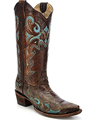 CORRAL Womens Brown/Turquoise Side Embroidery, Size: 8, Width: M (L5193-LD-M-8)