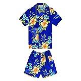 Chico Camisa Hawaiana y Pantalones Cortos Cabana Set en Hibiscus Blue Tamaño 2