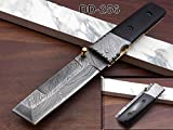 Hand Forged Damascus Steel Tanto Blade Pocket Knife, Folding Knife with Black Scale,...