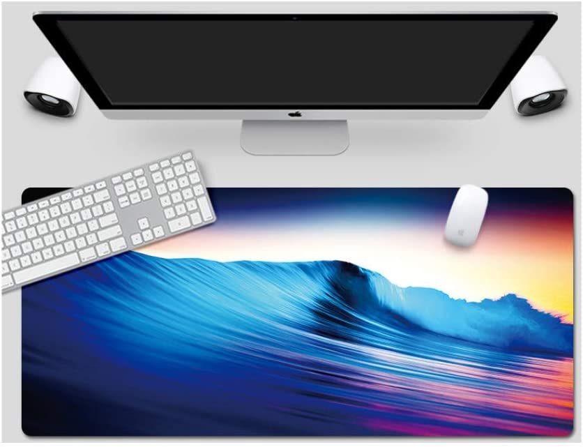 Color Wave Style Desk Pad Large Padded Waterproof Non-Slip Keyboard Pad Mouse Pad Suitable for Desktop Computer//Notebook,900x400mmx5mm
